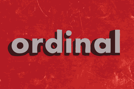 ordinal: ordinal vector word on red concrete wall