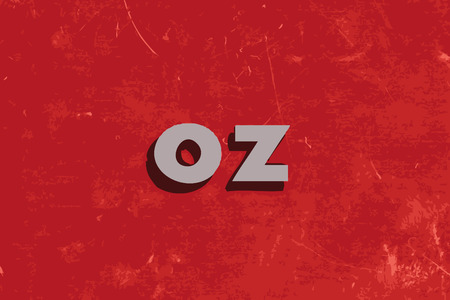 oz: oz vector word on red concrete wall