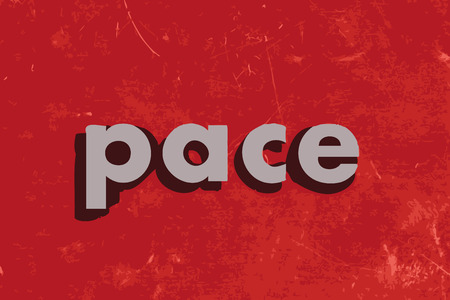 pace: pace vector word on red concrete wall