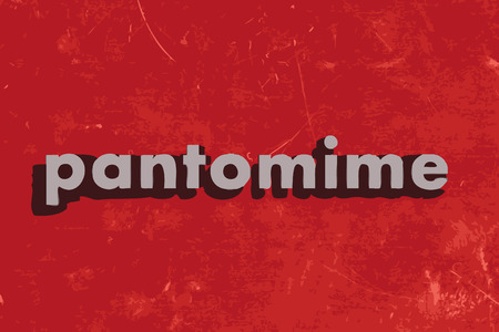 pantomime: pantomime vector word on red concrete wall