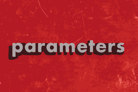 parameters: parameters vector word on red concrete wall