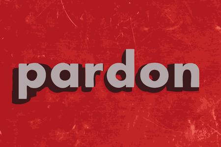 pardon: pardon vector word on red concrete wall