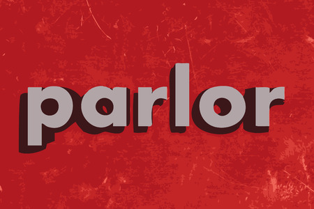 parlor: parlor vector word on red concrete wall Illustration