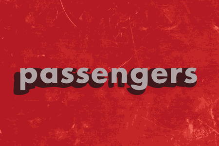 passengers: passengers vector word on red concrete wall