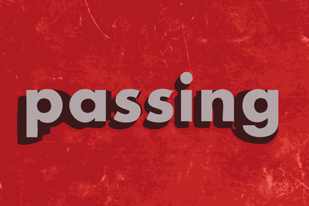 passing: passing vector word on red concrete wall