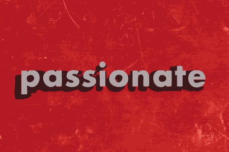 passionate: passionate vector word on red concrete wall
