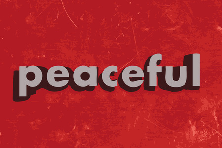 peaceful: peaceful vector word on red concrete wall Illustration
