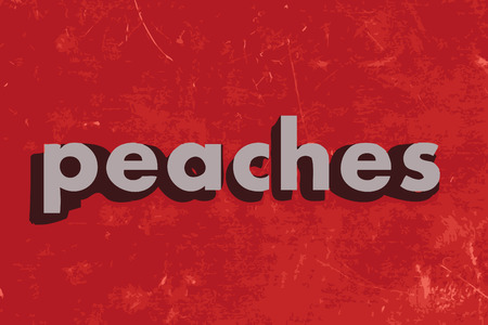 peaches: peaches vector word on red concrete wall