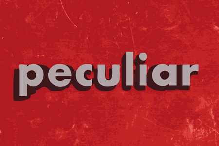 peculiar: peculiar vector word on red concrete wall