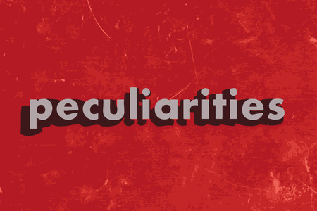peculiarities: peculiarities vector word on red concrete wall Illustration