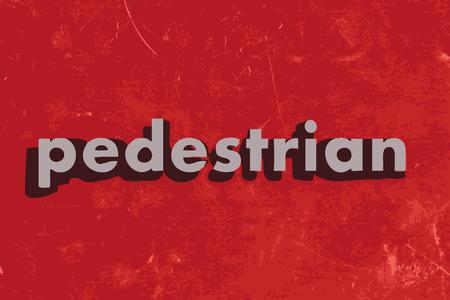 pedestrian: pedestrian vector word on red concrete wall