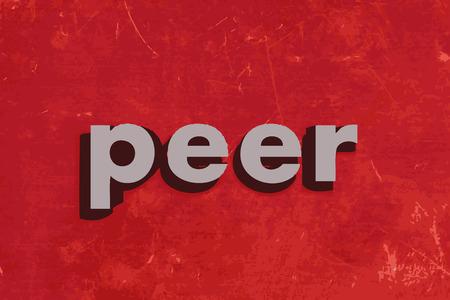 peer to peer: palabra vector de pares en la pared roja de hormig�n