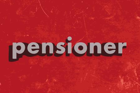 pensioner: pensioner vector word on red concrete wall Illustration