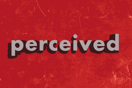 perceived: perceived vector word on red concrete wall Illustration