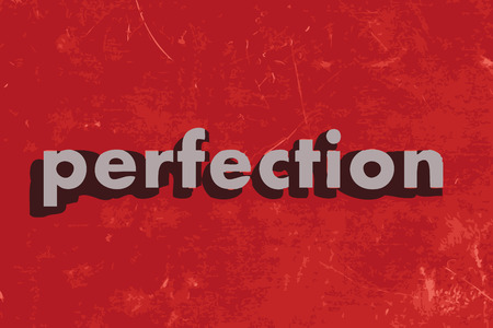 perfection vector word on red concrete wall Illustration