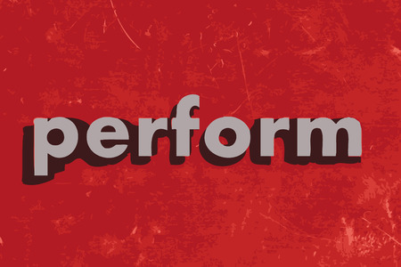 perform: perform vector word on red concrete wall Illustration