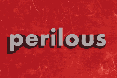 perilous: perilous vector word on red concrete wall