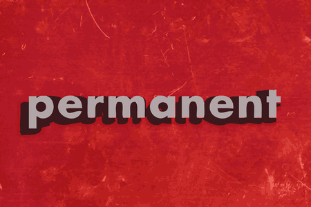 permanent: permanent vector word on red concrete wall