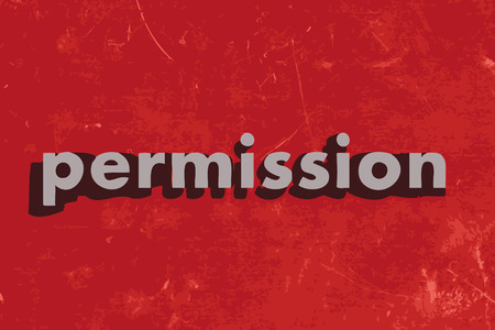 permission: permission vector word on red concrete wall Illustration