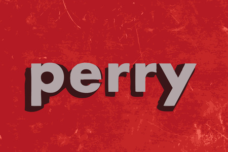 perry: perry vector word on red concrete wall Illustration