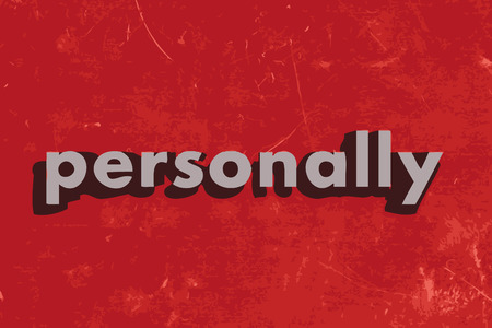 personally: personally vector word on red concrete wall