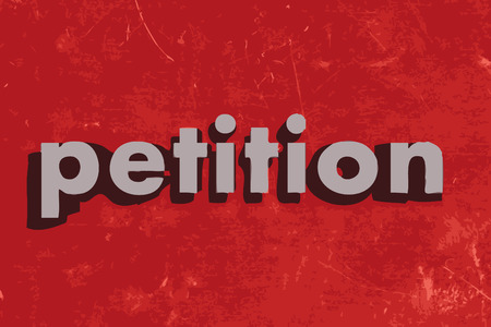 petition: petition vector word on red concrete wall