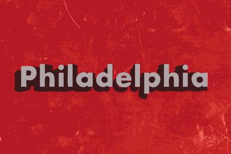 philadelphia: Philadelphia vector word on red concrete wall Illustration