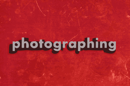 photographing vector word on red concrete wall Illustration