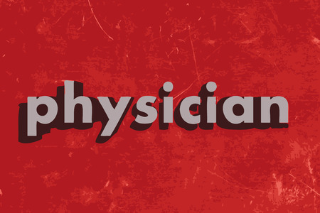 physician: physician vector word on red concrete wall Illustration
