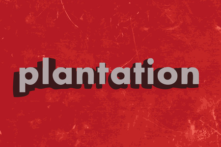 plantation: plantation vector word on red concrete wall Illustration