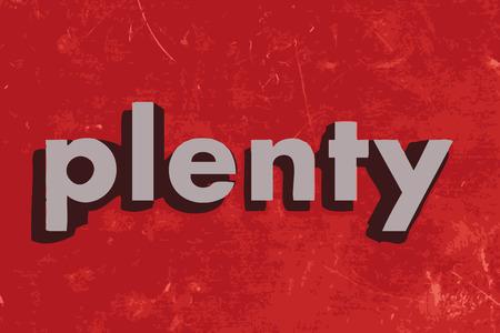 plenty: plenty vector word on red concrete wall