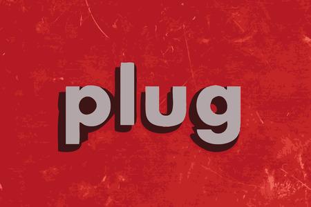 wall plug: plug vector word on red concrete wall