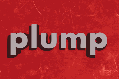 plump: plump vector word on red concrete wall Illustration