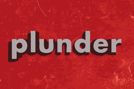 plunder: plunder vector word on red concrete wall