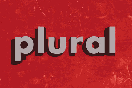 plural: plural vector word on red concrete wall Illustration