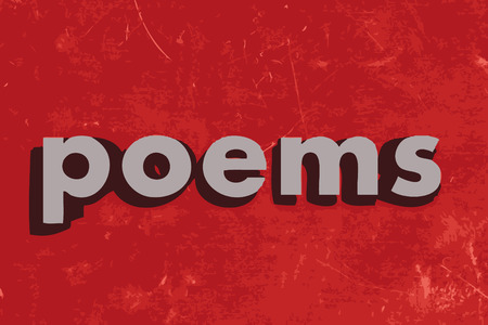 poems: poems vector word on red concrete wall