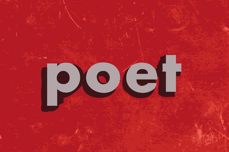 a poet: poet vector word on red concrete wall Illustration