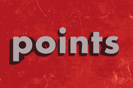 points: points vector word on red concrete wall