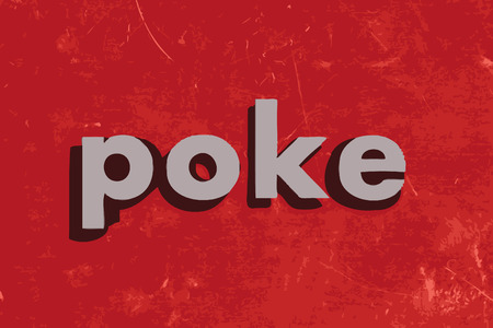 poke: poke vector word on red concrete wall