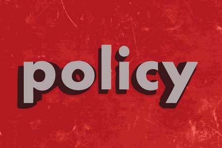 policy vector word on red concrete wall