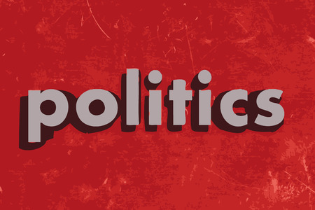 politics: politics vector word on red concrete wall Illustration
