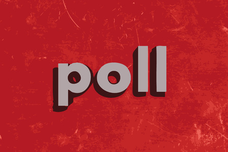 poll vector word on red concrete wall Illustration