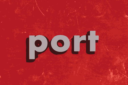 port: port vector word on red concrete wall