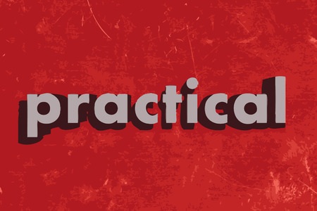 practical: practical vector word on red concrete wall Illustration