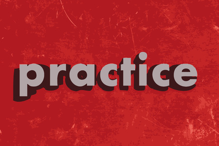 practise: practice vector word on red concrete wall