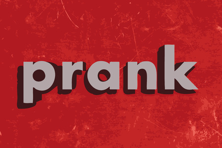 prank: prank vector word on red concrete wall Illustration