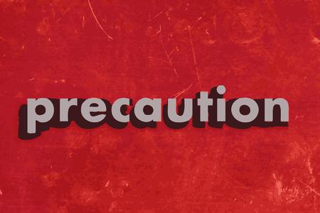 precaution: precaution vector word on red concrete wall