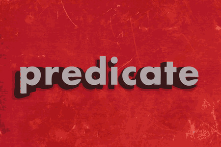 predicate: predicate vector word on red concrete wall Illustration