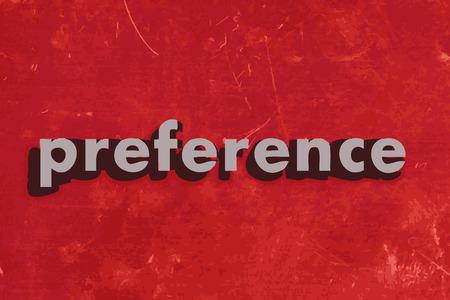 preferencia: palabra preferencia del vector en rojo muro de hormig�n