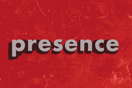presence: presence vector word on red concrete wall Illustration